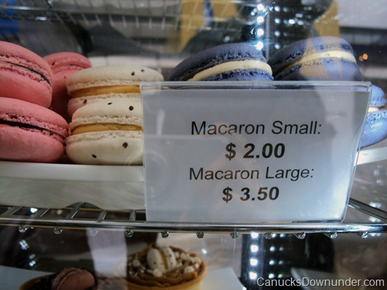 Small macaroons for $2, large macaroons for $3.50