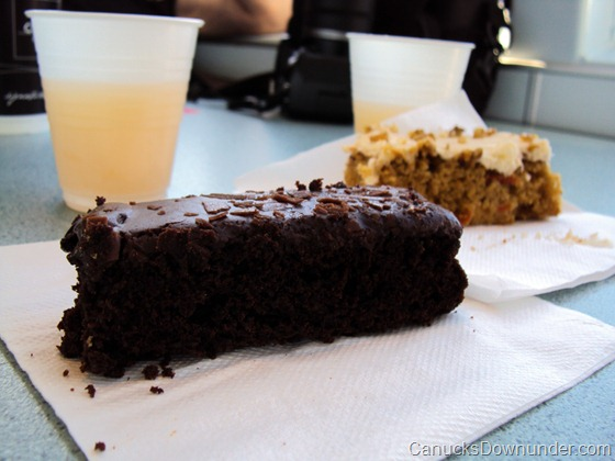 Slice of chocolate and carrot cake