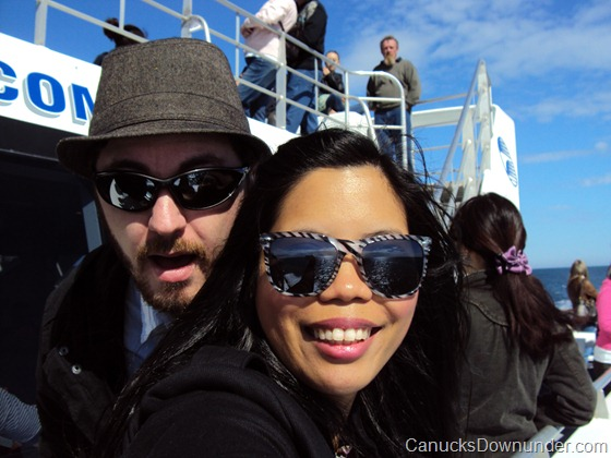 Jason and Donna on a boat for whale watching