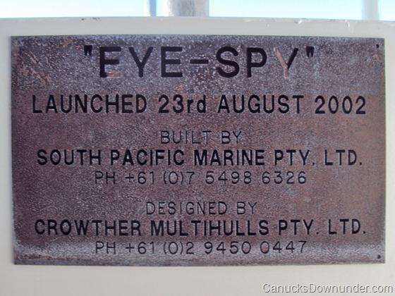 MV Eye Spy name plate