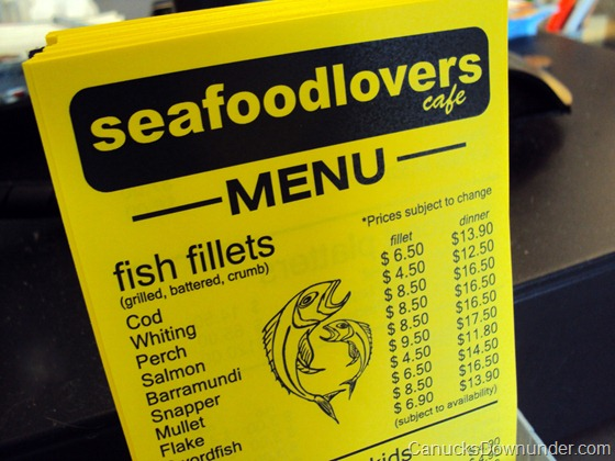 Seafood Lovers Cafe menu