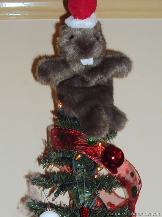 Donna and Jason's Christmas tree beaver, wombat