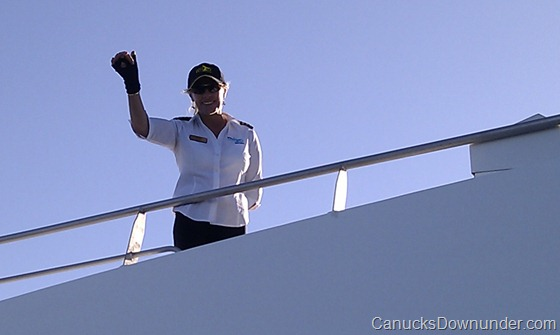 Captain Kerry waving goodbye