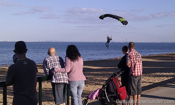 Skydiver landing on the beach