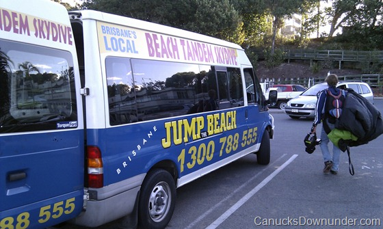 Brisbane Jump the Beach van and skydiver