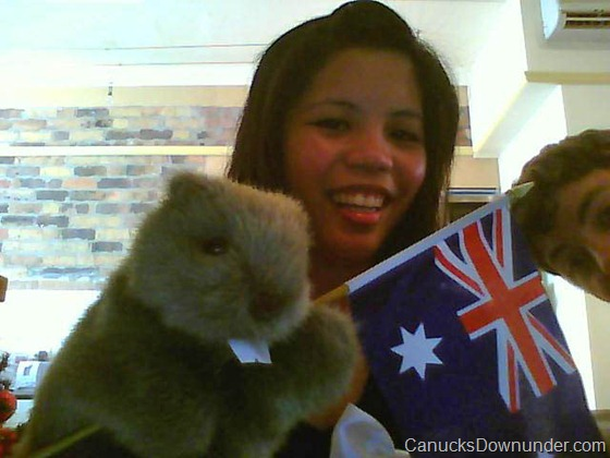 Donna, Jason and Beaver with Australia Flag
